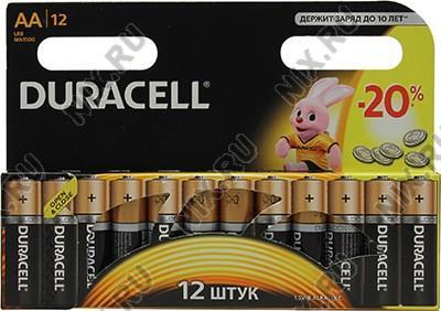 Duracell  MN1500-12 (LR6) Size AA, 1.5V,щелочной (alkaline) <уп.  12  шт>