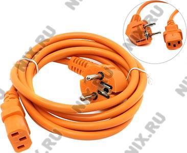 VCOM <CE021-O-1.8м> Кабель компьютер - розетка  220V  оранжевый Европейский стандарт