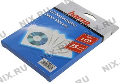 Конверты Hama <51179> для CD/DVD на 1 диск, белые, бумажные с прозрачным окошком, уп.  25  шт