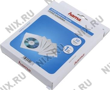 Конверты Hama <51173> для CD/DVD на 1 диск, белые, бумажные с прозрачным  окошком,  уп. 50 шт
