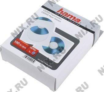Конверты Hama <49995> для CD/DVD на 1 диск, белые, бумажные с прозрачным окошком,  уп.  100  шт