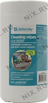 Defender <CLN30322>  Влажные чистящие салфетки в пластиковой тубе для экранов всех  типов  (100шт)
