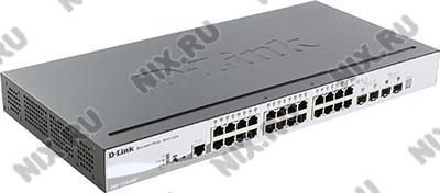 D-Link <DGS-1510-28P /A1A> Управляемый коммутатор (24UTP  100//1000Mbps  PoE+  4SFP)