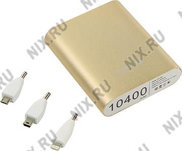 Внешний аккумулятор KS-is Power Bank KS-239 Gold (USB 2.1A, 10400mAh, 3  адаптера,  Li-lon)