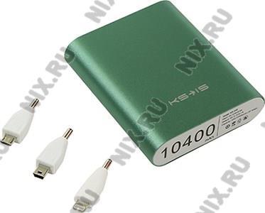 Внешний аккумулятор KS-is Power Bank KS-239 Green (USB 2.1A,  10400mAh,  3  адаптера, Li-lon)