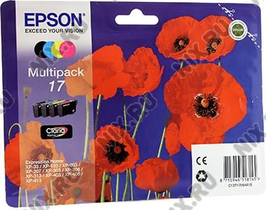 Картридж Multipack 17 <C13T17064A10> B/Y/C/M для Epson Expression  Home  XP-33/103/203/207/303/306/403/406